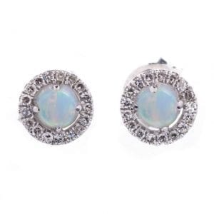 OPAL & DIAMOND HALO STUDS