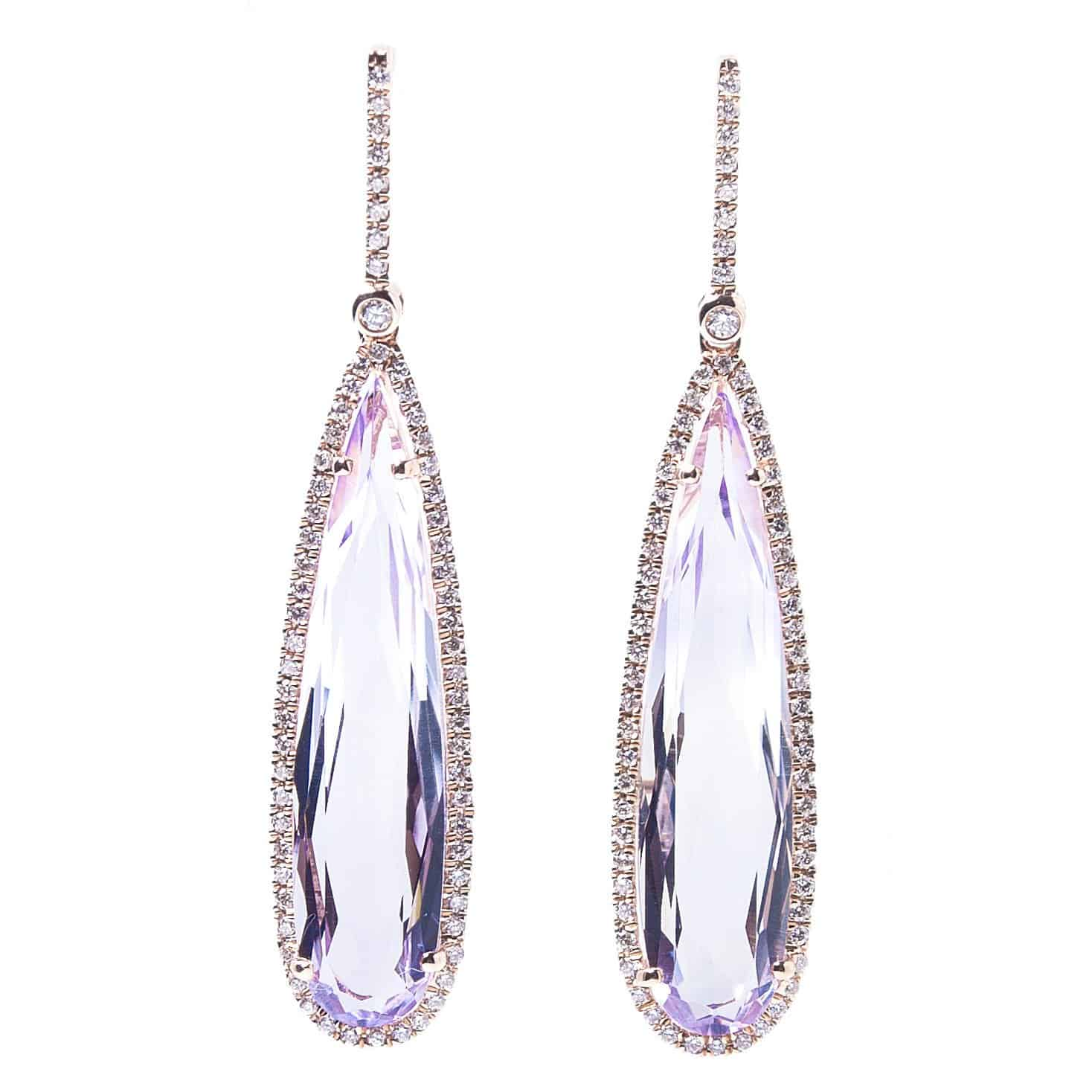 ELONGATED PEAR EARRING WITH DIAMOND HALO