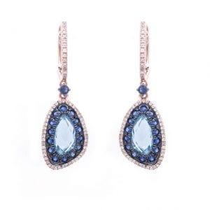 DIAMOND, SAPPHIRE & BLUE TOPAZ EARRING