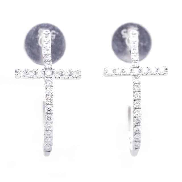 CURVED CROSS EARRINGS