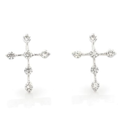 FLOATING DIAMOND CROSS STUD EARRINGS