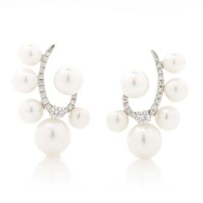 DIAMOND CURL AND PEARL POST EARRINGS