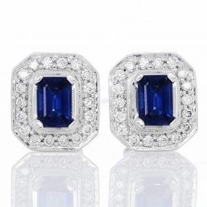 SAPPHIRE & DIAMOND EARRING