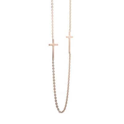 ROSE GOLD CROSS & CHAIN NECKLACE