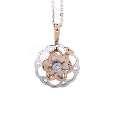 TWO TONE DIAMOND SPINNER NECKLACE