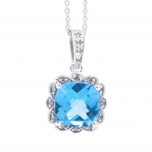 CUSHION COLOR STONE PENDANT WITH DIAMOND PETAL HALO