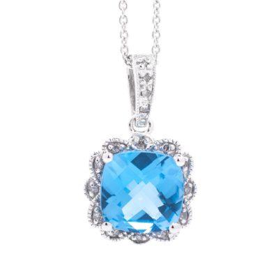 CUSHION COLOR STONE PENDANT WITH DIAMOND PETAL HALO