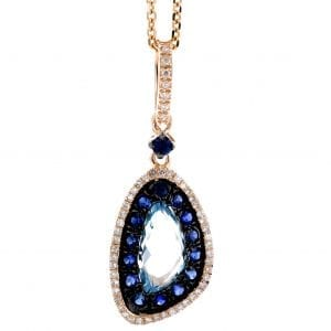 FANCY SHAPE BLUE TOPAZ, SAPPHIRE & DIAMOND PENDANT