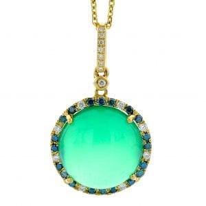 GREEN AGATE & BLUE DIAMOND PENDANT