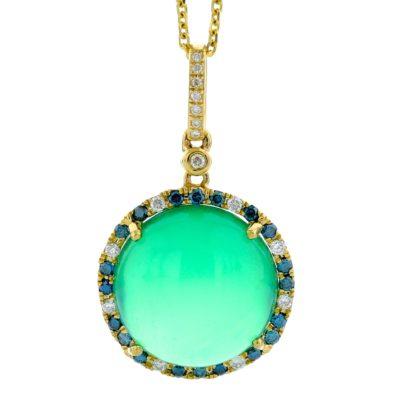 GREEN AGATE & BLUE DIAMOND PENDANT