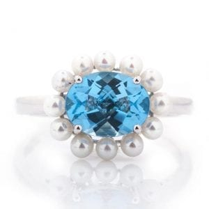 OVAL EAST-WEST COLOR STONE & PEARL HALO RING