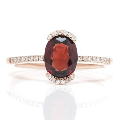 OVAL TENSION SET COLOR STONE RING WITH DIAMOND