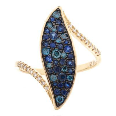 SAPPHIRE & BLUE DIAMOND RING