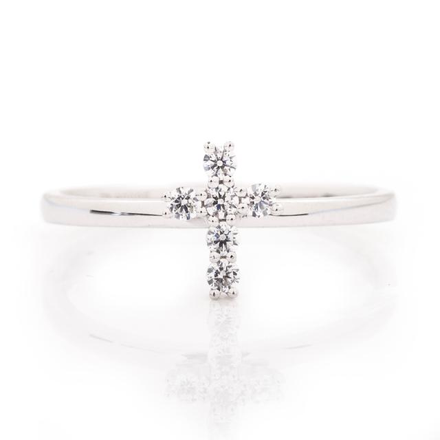 DIAMOND PETITE CROSS RING