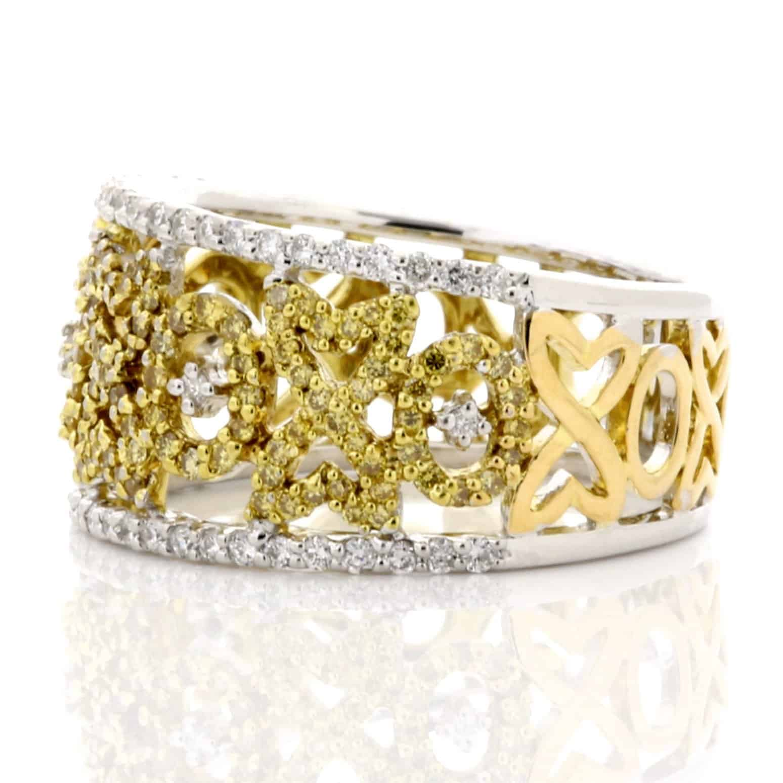 YELLOW & WHITE DIAMOND WIDE BAND RING