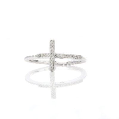 SIDEWAYS CROSS DIAMOND RING