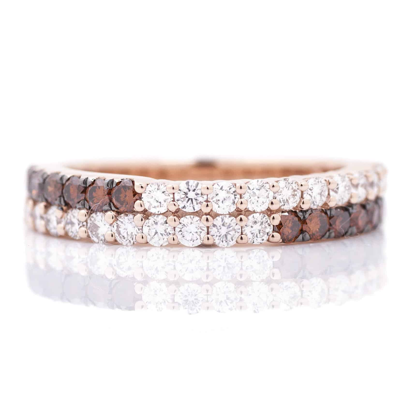 COGNAC AND WHITE DIAMOND STRIPE STACKABLE RING