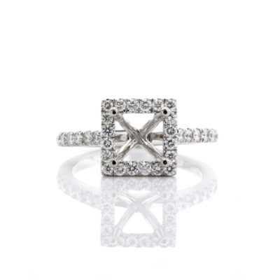 5/5.5/6/6.5/7MM PRINCESS SEMI-MOUNT RING WITH DIAMOND HALO