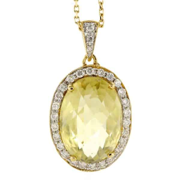 OVAL LEMON QUARTZ & DIAMOND PENDANT