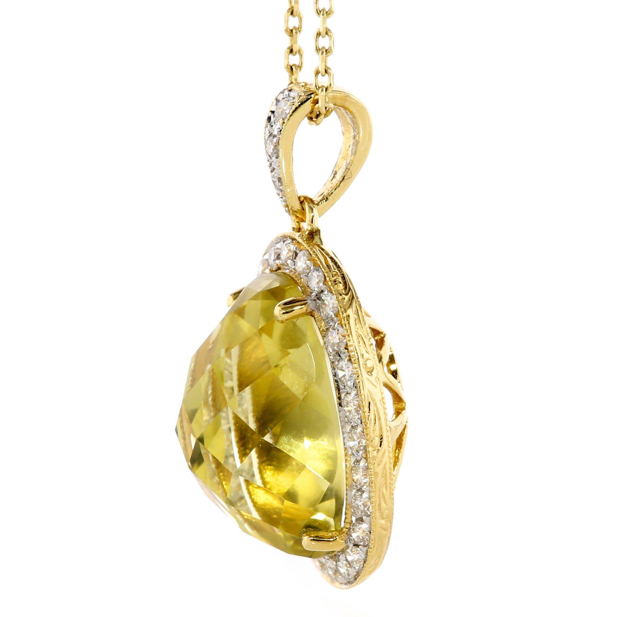 oval lemon quartz pendant