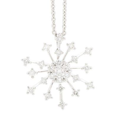 RADIATING ROUND DIAMOND HALO AND DIAMOND PAVE SNOWFLAKE PENDANT