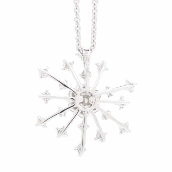 RADIATING ROUND DIAMOND HALO AND DIAMOND PAVE SNOWFLAKE PENDANT