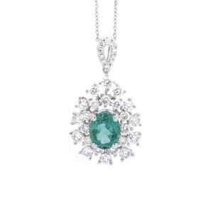 OVAL EMERALD TEARDROP DIAMOND PENDANT