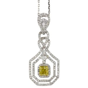YELLOW & WHITE DIAMOND FANCY DANGLE PENDANT