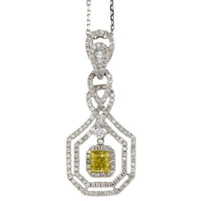 YELLOW & WHITE DIAMOND FANCY DANGLE PENDANT