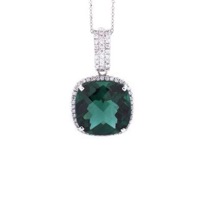 GREEN QUARTZ DIAMOND HALO PENDANT