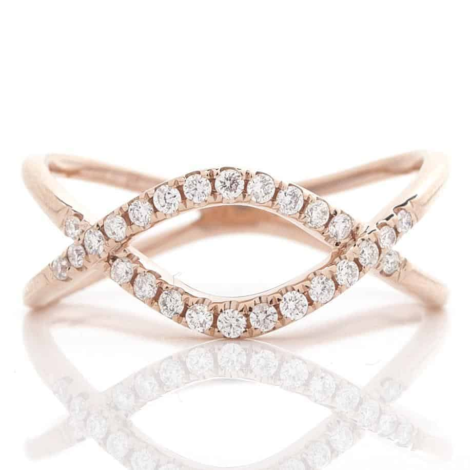 LOOPED CRISS-CROSS DIAMOND RING