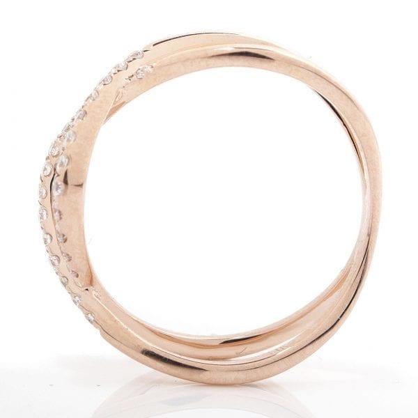 LOOPED CRISS-CROSS DIAMOND RING