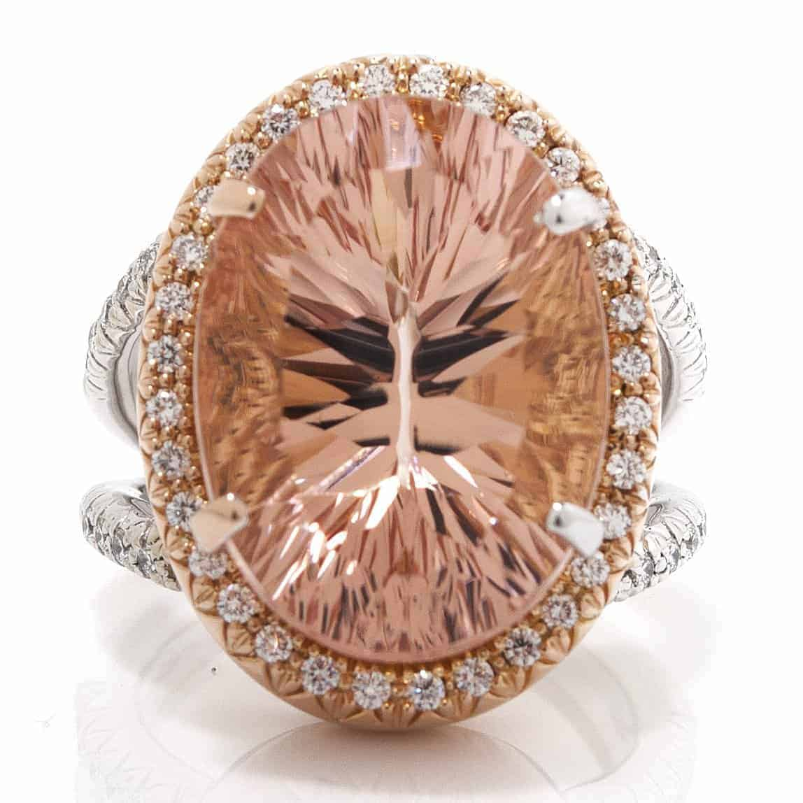 OVAL QUANTUM CUT MORGANITE & DIAMOND TWO TONE RING