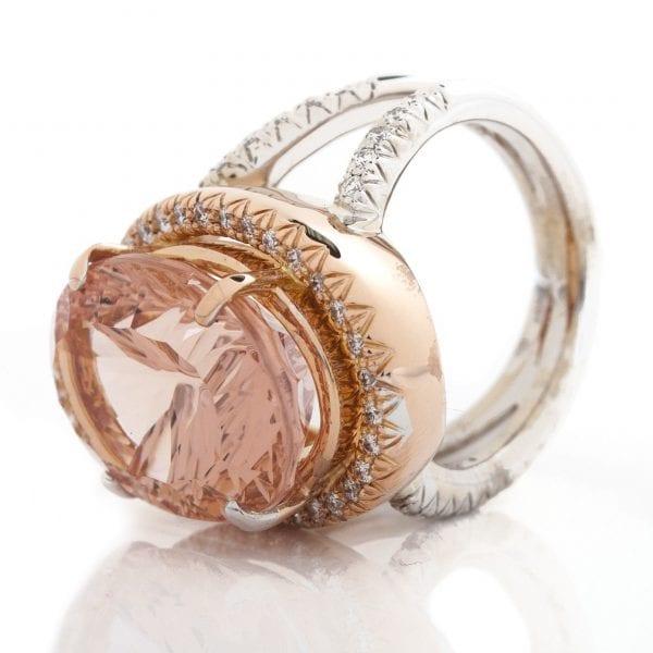 OVAL QUANTUM CUT MORGANITE & DIAMOND TWO TONE RING