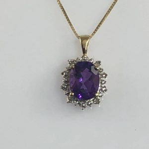 Amethyst & Diamond 14kt Gold Necklace