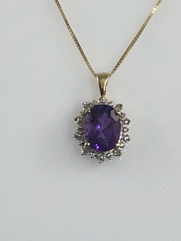 Amethyst & Diamond 14kt Gold Necklace