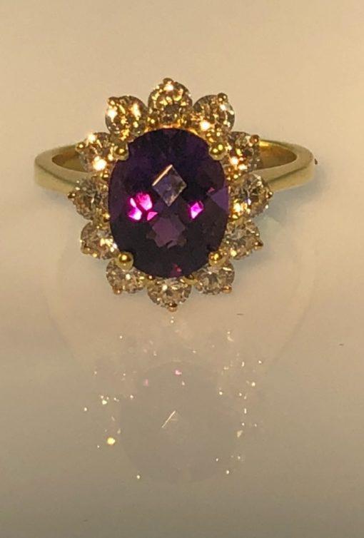 Amethyst & Diamond 14kt Gold Ring
