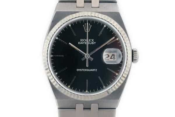 The Rolex Oysterquartz Datejust in steel with a black dial