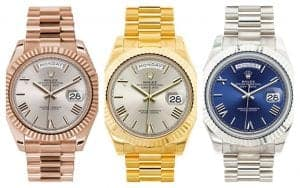 Rolex President Day-Date 40 in three shades of gold