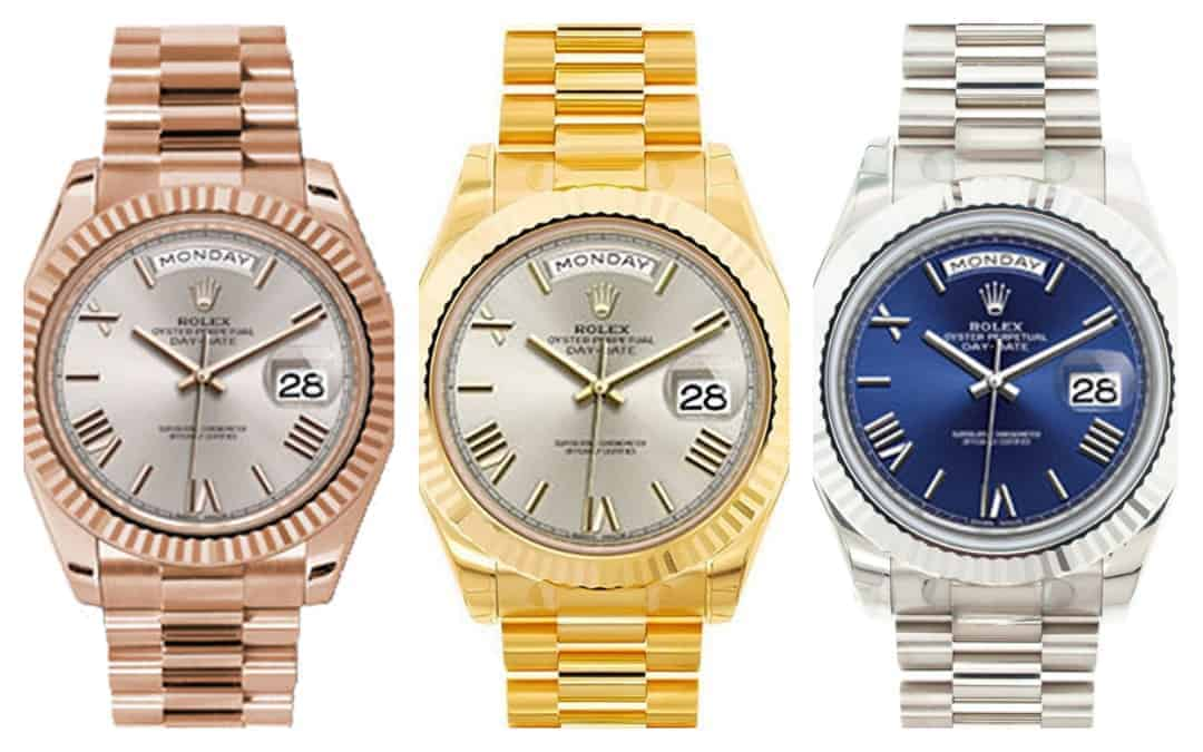 Three Shades of the Gold Rolex President Day-Date 40
