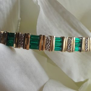 green tourmaline baguette and diamond bracelet