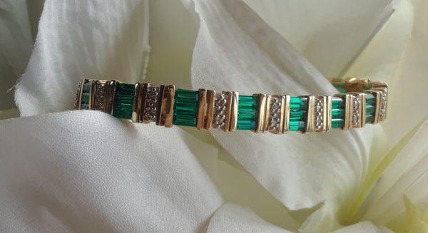 green tourmaline baguette and diamond bracelet