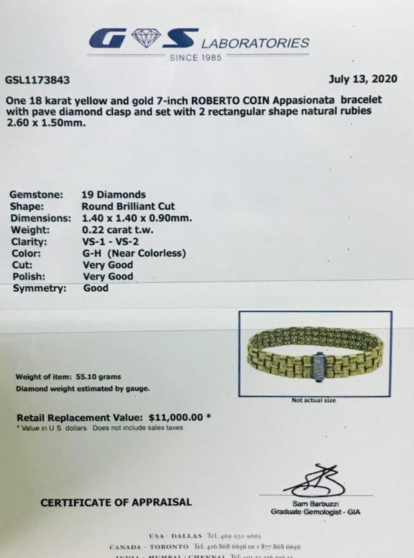 Appraisal paper for Roberto Coin Bracelet
