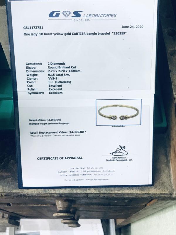 Appraisal paperwork for Cartier Diamond Bracelet