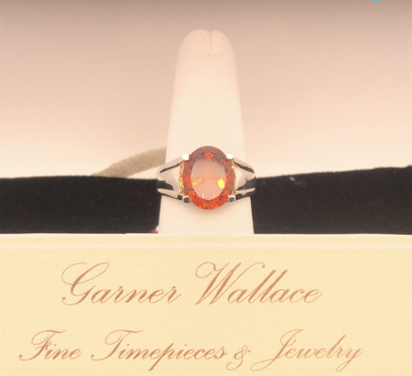 Mandarin Citrine Ring with diamonds