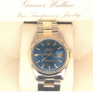Gold and Stainless Steel Rolex Datejust with blue dial