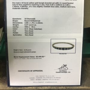 Appraisal sheet for Sapphire and Gold Diamond Bracelet