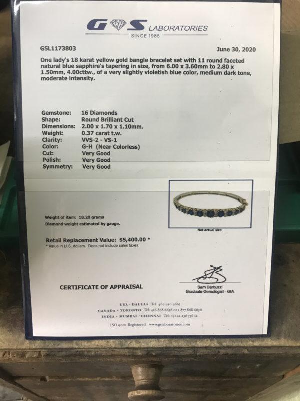 Appraisal sheet for Sapphire and Gold Diamond Bracelet
